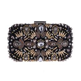 Vintage De Luxe GEM Strass Noir Sacs De Soirée D'embrayage Femmes À Longue Chaîne Diamant Perlé Épaule Sac De Noce Clutch Purse