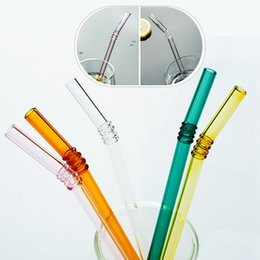 $enCountryForm.capitalKeyWord NZ - High Quality Reusable Clear Glass Straw Cocktail Milk Crystal Bent Drinking Straws For Birthday Party Wedding Bar Gift