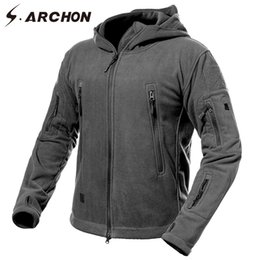 8d87b8a0836 S.ARCHON Winter Thicken Soft Shell Military Fleece Jackets Men Hooded  Windproof Tactical Outerwear Coat Warm Army Jacket Clothes D18100802