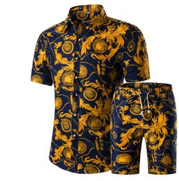 Chinese  Men Shirts+Shorts Set New Summer Casual Printed Hawaiian Shirt Homme Short Male Printing Sets Plus Size manufacturers