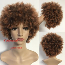 AfricAn AmericAn full wigs online shopping - 2018 Fashion Short Kinky Curly Celebrity Wig African American Wigs Fiber Afro Wigs Synthetic Full Wigs Y demand