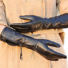 $enCountryForm.capitalKeyWord NZ - Women's Genuine Leather Gloves Female Autumn Winter Black Sheepskin Gloves Zipper Long Style Five Fingers Thin Velvet L031NQ
