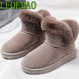 Wholesale 2018 The New style crystal rhinestone and fur faux leather fur lined winter Slip On Fashion warmth Ankle snow boots size