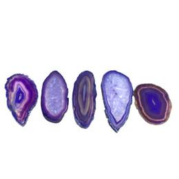 $enCountryForm.capitalKeyWord UK - DIY 5PCS Reiki Healing Natural Stone Purple Small Agate Slice Pendant Raw Quartz Stone Connector Beaded Pendants for decoration