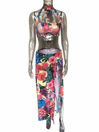 Two piece sexy rompers online shopping - Pullover Floral Print Summer Beach Tracksuits Cape Jumpsuits Two Pieces Suits Women S Sets Casual Sexy Fashion Rompers Female