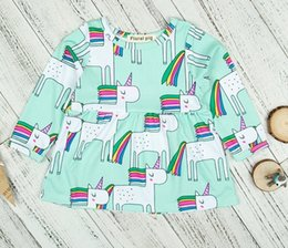 Barato Vestido De Arco-íris 4t-Unicorn Rainbow Dresses for Baby Girls 2018 Spring Kids Boutique Vestuário Euro America INS 1-4T Toddlers Girls Long Sleeves Cartoon Dresses