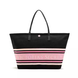 stripe canvas tote beach bags 2018 - Pink sugao 2018 new style strip beach bag secrit large capacity canvas purses and handbags luxury tote bag shoulder bags