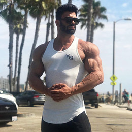 Wholesale summer tank top t shirt resale online - Men Tank Top Sleeveless T shirts Summer Men Fitness Clothing Bodybuilding Gyms Undershirt Casual Sporting Tank top Tees
