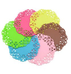 $enCountryForm.capitalKeyWord UK - 2Pcs set Colorful Lace Flower Hollow Design Round Silicone Table Heat Resistant Mat Cup Coffee Coaster Cushion Placemat Pad Tool
