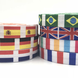 Wholesale word flags online – 100 Yards Country Flags Printed Fold Over Elastic England Spain French Brazil Germany Flag FOE Ribbon for Word Cup Girls Pony Tails Holder