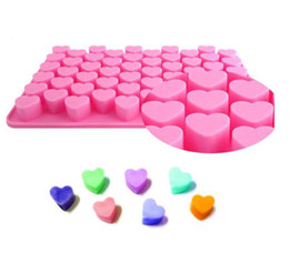 Chinese  18.5*11*1.4cm Heart Shaped Chocolate Cookies Ice Silicone Mold Tray Cake Maker DIY Ice Mold DIY Ice Mould Pink Color Mold manufacturers