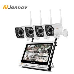 Cctv Wifi Ip Australia - Jennov LCD Screen 4CH Security Camera System Wireless CCTV System 1080P Camera CCTV Kit Infrared HD IP Video Surveillance Wifi
