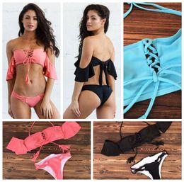 3d01537f261b0 blue black bathing suits 2018 - 3 Colors Off Shoulder Ruffle Bandage Bikini  Set Swimwear Beach