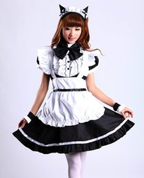Female Cat Woman Costume Australia - Shanghai Story Women Cat Ear French Maid Cosplay Dress Halloween Costume 2 color