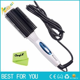 Style Straight Hair Flat Iron NZ - New Hot 2-in-1 Electric Hair Styling Tool Hair Straighter Comb + Wand Curler 110-240V Flat Iron Tourmaline Ceramic Iron Curling Brush 24