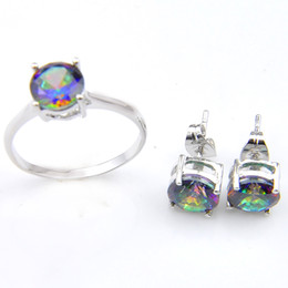 Wholesale New Arrive Color Fashion Bridal Accessories Colorful Crystal Jewelry Rings Stud Earrings for lovers Jewelry Sets Z0001