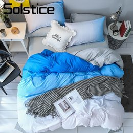 Wholesale Solstice Home Textile Blue Gradient White Bedding Set Nordic Simple Kid Teenage Boy Girl Linens Duvet Cover Bed Sheet Pillowcase