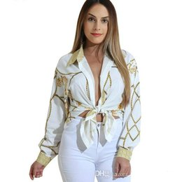 China 2018 Autumn Gold Chain Print Blouses for Women Long Sleeve Turn Down Collar Button up Female Shirt Sexy Casual Ladies Tops cheap lace neck chain women suppliers