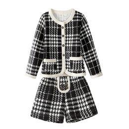 $enCountryForm.capitalKeyWord Australia - New Fashion children's clothing set autumn girl Houndstooth cardigan long sleeved jacket Shorts 2 piece suit for 2-7T