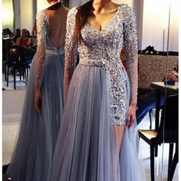sexy porm dresses NZ - 2019 New prom Appliques Crystal Beaded V-Neck A Line Long Sleeves Evening Dresses Tulle Hollow Floor-Length Celebrity Porm Party Dresses