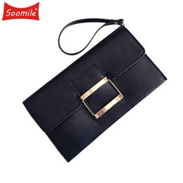 China Soomile New Female Clutch Bags Envelop Women PU Leather Shoulder Bag flap Hasp Evening Bags Minimalist pure color chain Handbags supplier black envelop suppliers