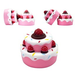 food pendant UK - Strawberry Cake PU Cute Lovely Cartoon Pendant Kawaii Squishy Simulation Bread Food Squishy Super Kid Toy Decompression Toys