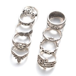 Vintage Cluster Rings Australia - 9 Pcs Lot women fashion hot sale retro Cluster silver plated jewelry rings bohemia vintage hollow mix size jewelry ring set wholesale