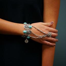 $enCountryForm.capitalKeyWord NZ - Bohemian Silver Coin Charm Slave Bracelets For Women Floral Blue Gem Beads Bracelet Gypsy Ethnic Tribal Festival Jewelry Turkish
