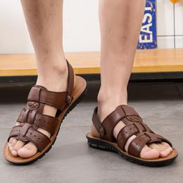 $enCountryForm.capitalKeyWord Canada - Men Sandals Plus Size Summer Genuine Leather Male Casual Shoes Black New Arrival Classic Flat Handmade Leisure Beach Shoes Men