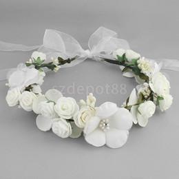 pink crown headband 2019 - Boho Girl Floral Crown Flower Headband Hair Garland Wedding Headpiece White Pink Coffee discount pink crown headband