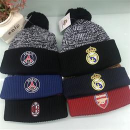 ed012b1231e Autumn Winter Beanies Embroidery Football Team Hat Man Boys Adult Woolen Knitted  Warm Leisure Cap Festive Gift Fashion 19js bb