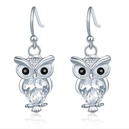 Wholesale Items Sold Australia - 2019 Owl Rose gold Zircon Crystal 925 Silver Fish Hooks New Earrings Dangles Chandelier Jewelry Hot sell Items