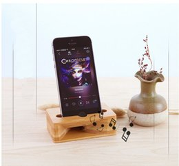 Docks Speakers NZ - 100% Natural Bamboo Wood Phone Bracket Stand For Mobile Cell phone Smartphone Holder Charger Dock Station Sound Speaker Voice Amplifier