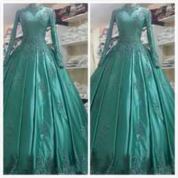 $enCountryForm.capitalKeyWord NZ - Free Shipping New Arrival Satin Lace Applique High Neck Long Wedding Dresses Ball Gown Long Sleeve Muslim Wedding Bridal Gowns