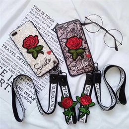 Designs For Iphone Cases Australia - For iPhone X 3D Embroidery Rose Case Lanyard Art Handmade Flower Design TPU PC Cover For iPhone 8 7 6S Plus With Strap