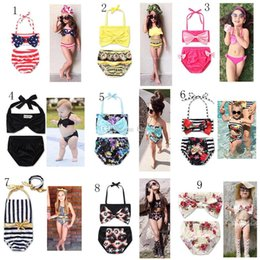 6t swimwear 2020 - New Girl Floral American flag swimwear outfits cotton children Bow Bikinis Swimsuit Baby Clothing 13 colors C2137 discou