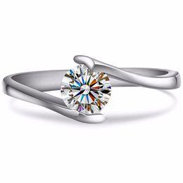 $enCountryForm.capitalKeyWord UK - C&C Brand Test Positive Moissanite Diamond Ring Solid White Gold 0.5CT Moissanite Solitaire Engagement Ring Women Jewelry 18K S923