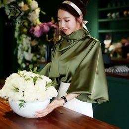 $enCountryForm.capitalKeyWord Canada - Spring Women Blouse Korean 2018 Office Lady White Chiffon Long Lantern Sleeve Bow Shirt Casual Loose Stand Collar Blouse T81239A