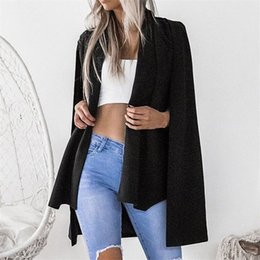 cape jacket wholesale UK - Women Long Sleeve Lapel Split Cape Coat Fashion 2018 New Pink Black Jacket Shawl Cloak Autumn Ladies Elegant Cardigan Outwear