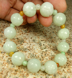 green jade carvings Canada - Certified Light Green Natural A Jade Jadeite Beads Carved Lotus Flower Bracelet