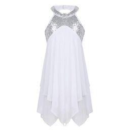 1d6a81ac9749 Princess Ballet Leotard Dress for Girls Halter Sequins Criss Cross Back Kids  Dancewear Ballet Tutu Costume Ballroom Dance Dress