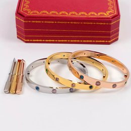 Wholesale New style colorful CZ Stone silver rose k gold L stainless steel screw bangle bracelet with screwdriver