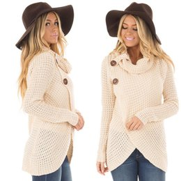 Cotton Knit Tops NZ - Fashion Women Loose Knitted Batwing Sleeve Cotton Solid Winter Sweater Warm Ladies Casual Turtleneck Knitwear Tops Women Clothes S18100803