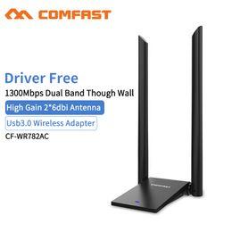 Ethernet Cf Card Australia - Comfast CF-WU782AC 1300Mbps Dual Band Through Wall USB3.0 Wireless Adapter Dual Wifi Antenna 6dbi Network Card Wifi Adaptor