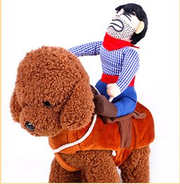Discount fall apparel - Cartoon Cowboy Riding Horse Dog Cosplay Costumes With Hat Moneybag Halloween Pet Dog Clothes Novelty Dog Apparel