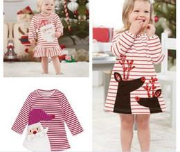 $enCountryForm.capitalKeyWord NZ - 100pcs Christmas Girls Dress Santa Claus Princess Dresses Baby Girl Autumn Winter Long Sleeve Stripe Dress Kids Xmas Clothing Y205