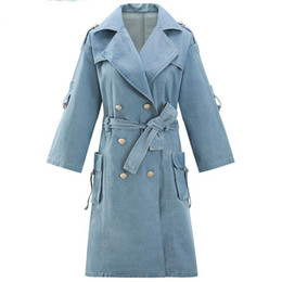 cotton windbreakers UK - Women Denim Trench Coat Cotton Windbreakers Long Sleeve Lace Up Double Breasted Coat Split Loose Long Overcoat Autumn New