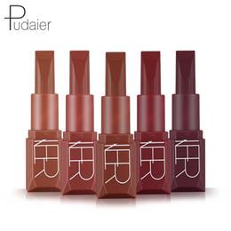 free color samples 2019 - Brand Pudaier Matte Lipstick 5 Colors Waterproof Velvet Nude metallic Tint Soft Lipgloss Lips Cosmetics Makeup Free Ship