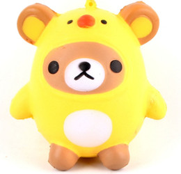 ChiCken handbag online shopping - 400pcs Squishy Bear Chicken Soft Phone Charms Slow Rising Fun Gift Relieve Stress Toys Phone Charms Handbag Ring Pendant