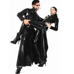 Chinese  Movie The Matrix Prop Suit Black Faux Leather Windbreak Unisex Wind Coat Sexy Cosplay Theme Costumes manufacturers